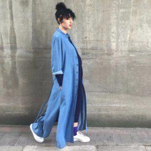 NWT Zara Maxi Shirt Dress Linen Blue Duster M